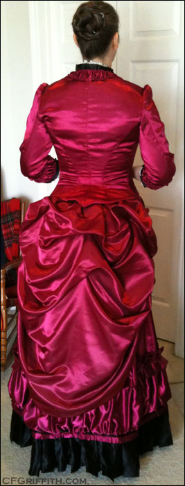Burgundy Evening Bodice Bustle Gown