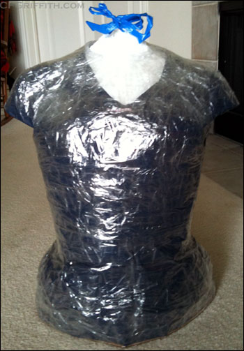 clear packing tape dress form
