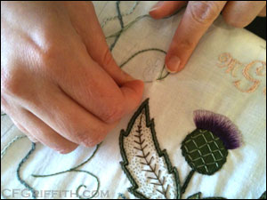 embroidering an 18th century pocket