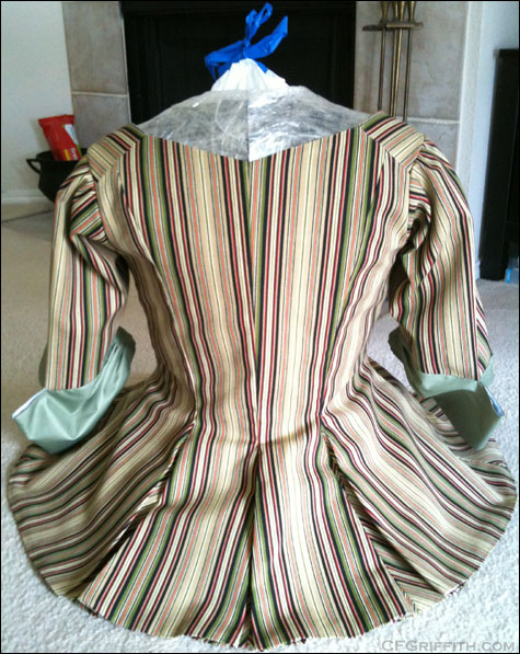 clear packing tape dress form for 18th century costuming