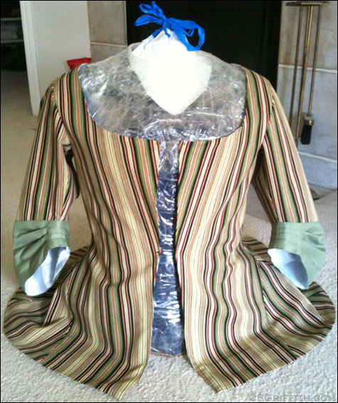 18th century jacket on tape dress form