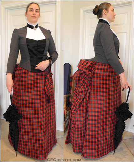 plaid bustle gown