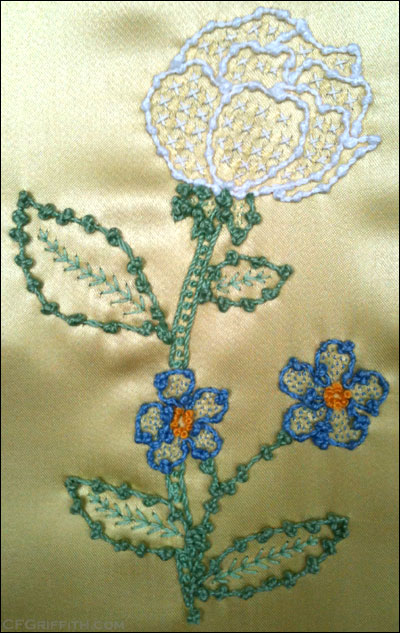 knotted thread embroidery couching